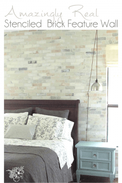 Stenciled Brick Feature Wall looks Real! - Pocketful of Poseis