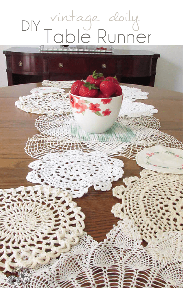 DIY Vintage Doily Chain Table Runner - Pocketful of Posies