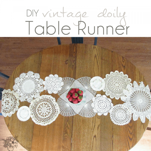 DIY Chain Vintage Doily Table Runner - Pocketful of Posies