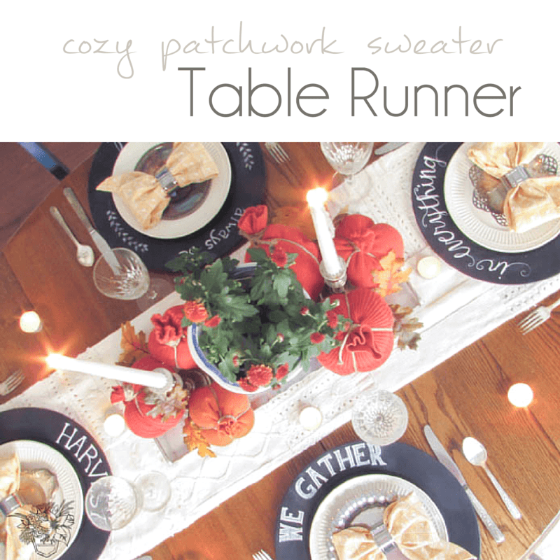 DIY Table Runner out of upcycled sweaters