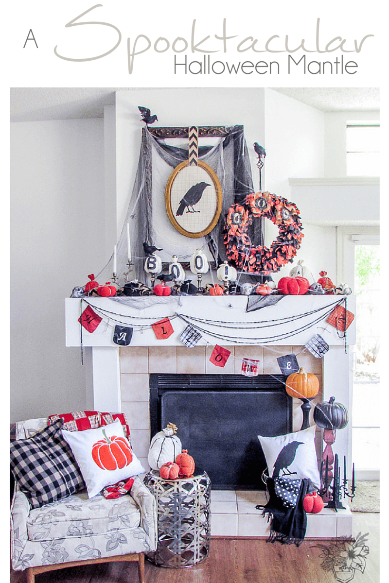 Halloween Decorating Ideas, Halloween Mantle - Pocketful of Posies