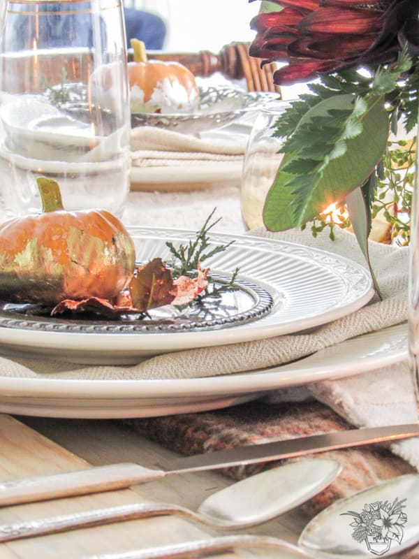 Nature and Metal Inspired Thanksgiving Table - Pocketful of Posies