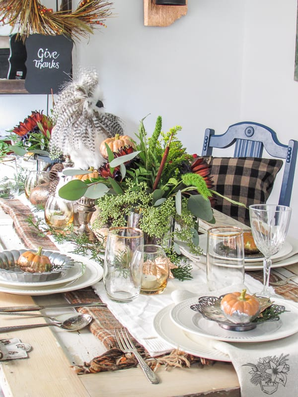 Natural and Metal Inspired Thanksgiving Table