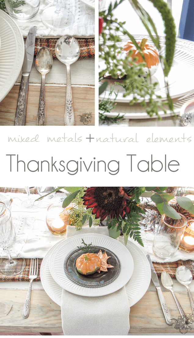 nature and metal inspired Thanksgiving Table