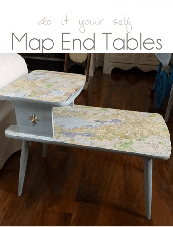 Step by Step Instructions how to add a vintage map to a table - DIY Map Table