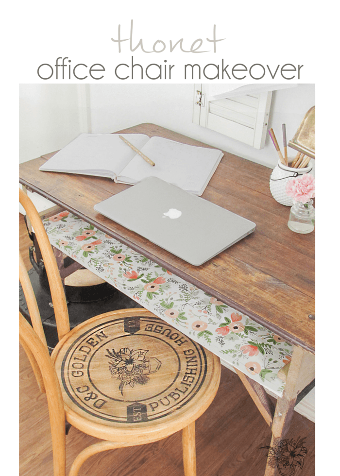Add custom decal/stencil to chair seat using Silhouette Machine - Thonet Office Chair Makeover