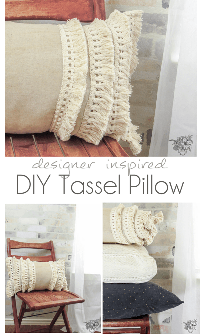 Step by step instructions how to make a designer inspired tassel pillow - Pocketful of Poise