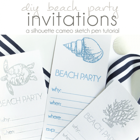 Silouette Cameo Sketch Pen DIY Beach Party Invitations - Pocketful of Posies