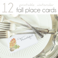 Fall Place Cards, Fall Table, Thanksgiving Table, Watercolor Fall Printable