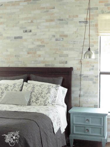 My Home Style: Before and AfterStenciled Brick Feature Wall, Master Bedroom Update - Pocketful of Posies
