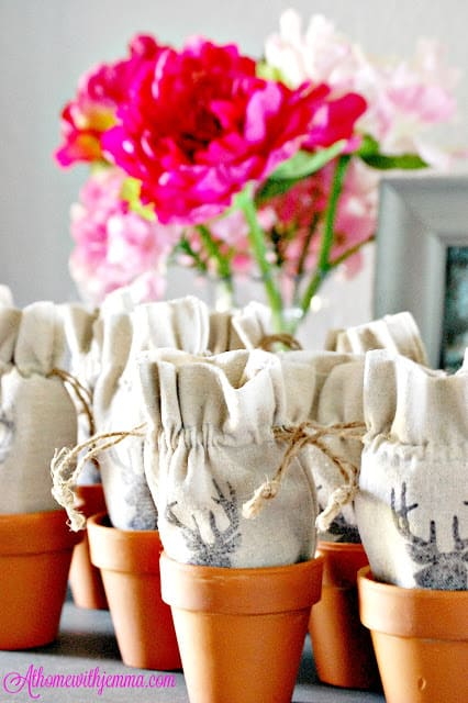 clay pots with linen bags