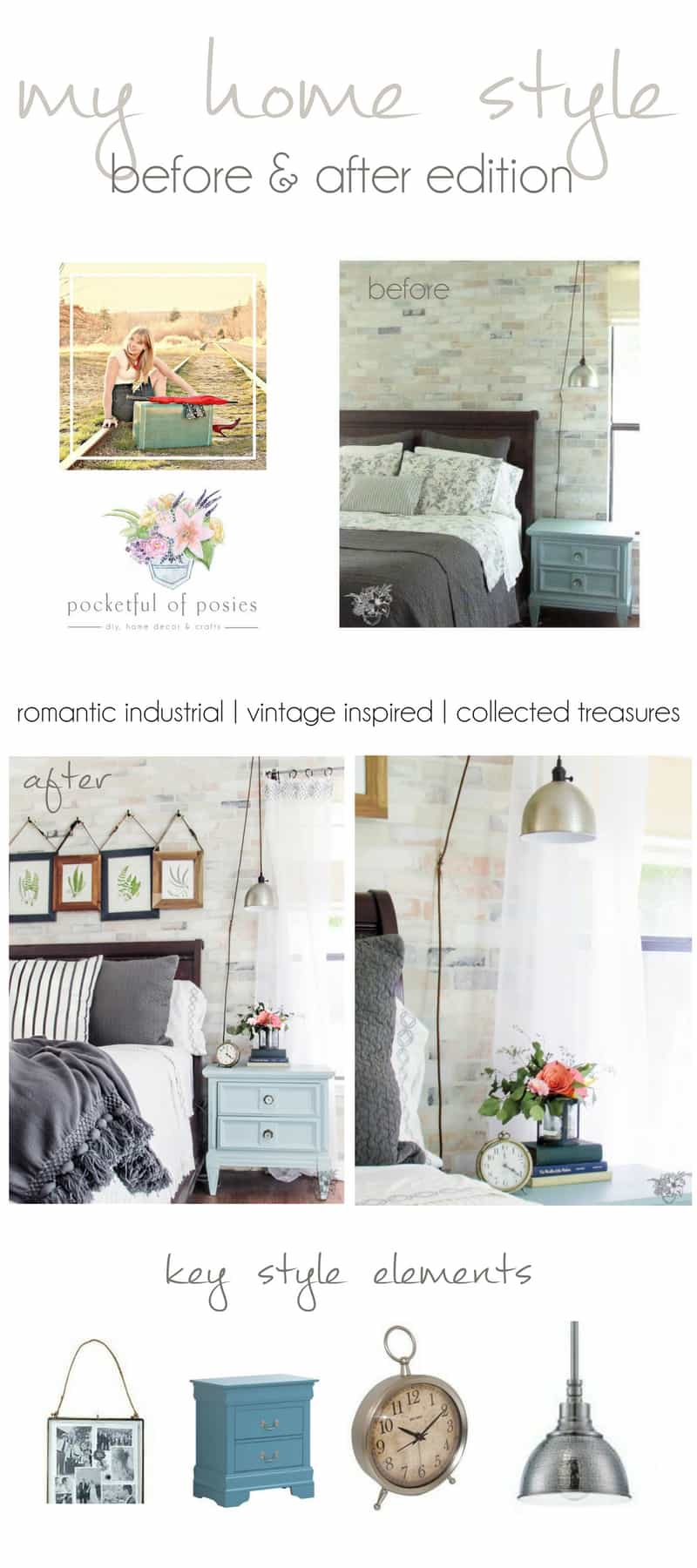 Romantic Industrial Master Bedroom Makeover, My Home Style: Before and After