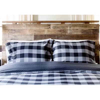 black-and-charcoal-gray-plaid-comforter-set-100%2525-woven-cotton-herringbone-0200maliblac