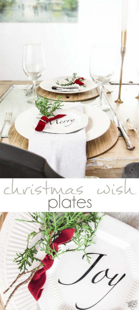 DIY Christmas Wish Plates, DIY Christmas Quote Plates, DIY Christmas Appetizer Plates, DIY Holiday Plates, DIY Holiday Quote Plates