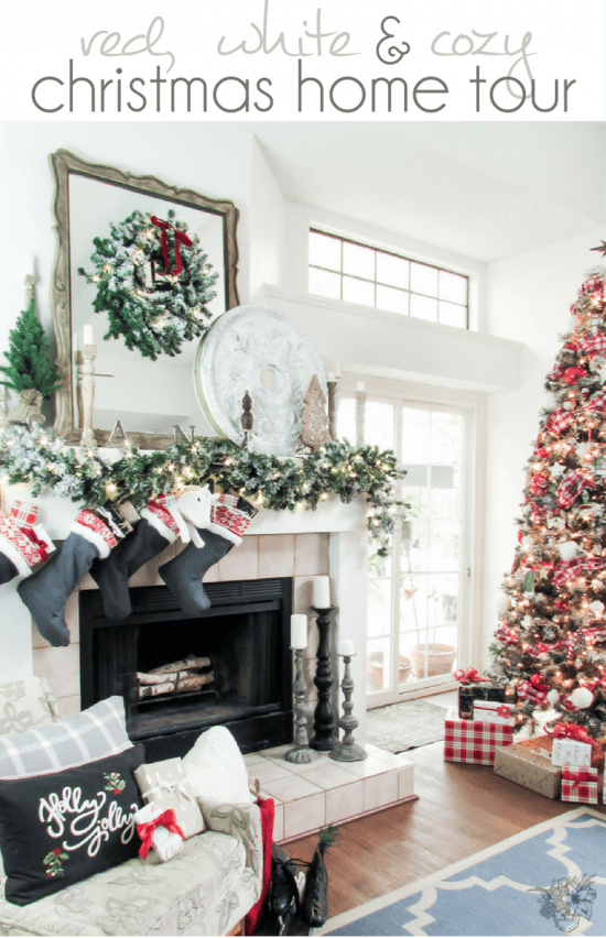Red, White and Cozy Christmas Home Tour 2016 - Pocketful of Posies