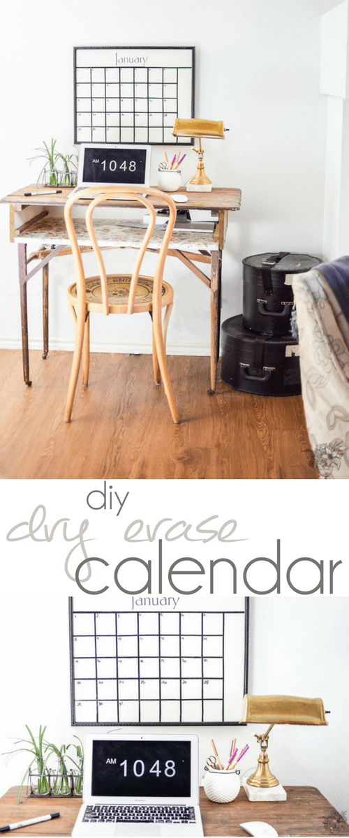 Thrift Store Frame Upcycle into DIY Dry Erase Calendar, Thrifted Wall Calendar, DIY Office Organization, DIY Command Center, DIY Schedualing, Silhouette Craft, Silhouette Project