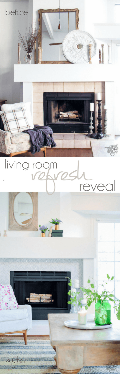 New Year New Room Challenge, Living room makeover, family room makeover. 1980's drab to fab, fireplace makeover