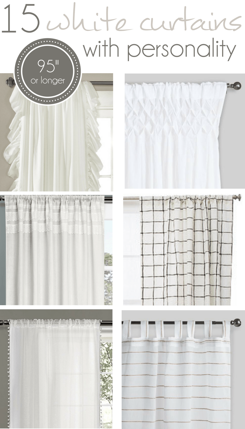 "15 long White Curtains 95"" or longer, 96"" white Curtains, farmhouse curtains"