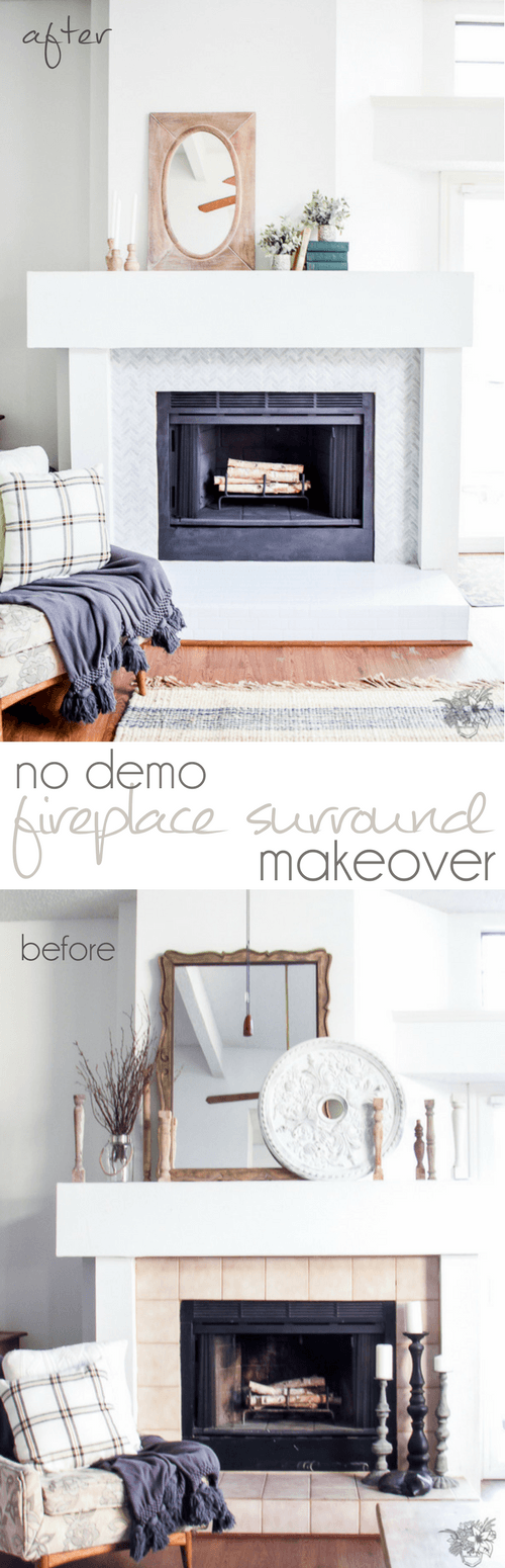 No Demo Firepalce Makeover, How to Retile Fireplace, Renter Friendly Living Room Decor, Renter Friendly Makeover