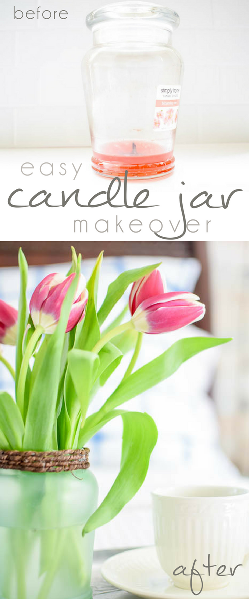 Easy Candle Jar Makeover to Mother's Day Vase, Upcycled Candle Jar, Recycled Candle Jar, DIY Vase